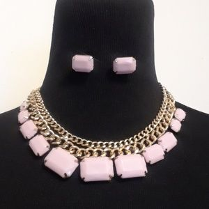 Jewelry - 50% OFF CUTE Light Pink Necklace and Earring set
